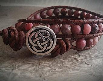 Leather Wrap Bracelet- semi precious rhodonite gemstones, healing bracelet, gift for mom
