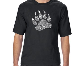 Men's Tall and Long Word Art T-shirt -  Types of Bears