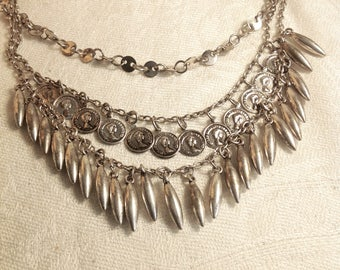 Vintage Multi Strand Silvertone Coin Necklace 18 Inches