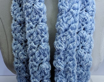 Sparkling Blue & White Scarf Handmade Baby Blue Blanket Stitch Scarf Sparkling Cowl Crocheted Scarf On Sale Now