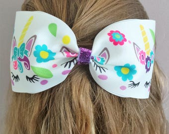 Giant Hair Bow, Large Hair Bow, Hair Slide, Sleeping Unicorn, Hair Accessory, Gift for Her, Gift for Kids, Kids Fashion, Party Bag Filler