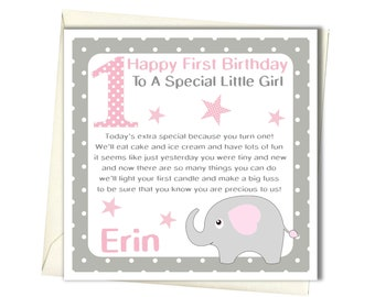 First birthday card etsy personalised girls 1st birthday card first birthday card for daughter granddaughter goddaughter niece babies 1st bookmarktalkfo Image collections