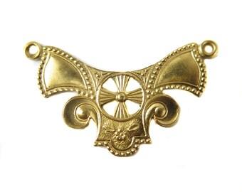Brass Art Deco Double Bail Pendant (8X) (M883)