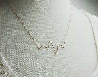 Stunning Rose Gold Heartbeat Necklace, Wire Heartbeat, EKG Gift, Pulse, Bride Shower Gift, Bridesmaid Gift, Nurse Gift, Doctor Gift Hospital