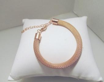 Rose Gold Bracelet, Rose Gold Rope Bracelet, Rose Gold Mesh Bracelet, Tube Bracelet, Bridesmaid Bracelet, Mesh Bracelet, Rope Bracelet