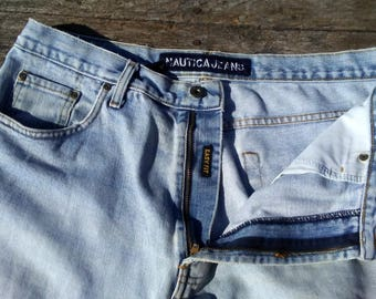 Vintage Nautica Jean Shorts Men's Size 35 Easy Fit Classic Jean Shorts PERFECTLY WORN IN 1990s Jeans Mens Jeans Shorts