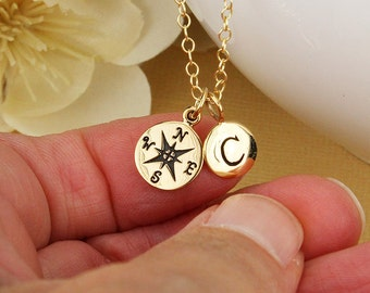 Gold compass necklace personalized compass initial necklace gold letter cluster necklace going away gift long distance relationship initial
