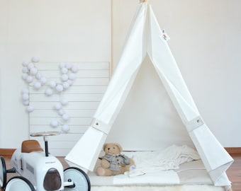 White canvas teepee, play tent, childrens teepee, kids teepee, baby shower, tipi, teepee tent, kids teepee tent, teepee tent for kids
