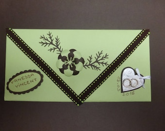 Example envelope dark brown and green for card or check