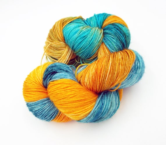Hand Dyed Yarn Hand Dyed Sock Yarn Superwash Merino Nylon Blend 75/25 Fingering Weight Yarn - Orange Yarn Blue Yarn - Great Barrier Reef
