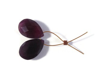 Two Dark Purple Chalcedony Beads, Matched Pair of 2 Gemstone Briolettes, Teardrop Beads, 15mm x 10mm (Pt-Ch3)