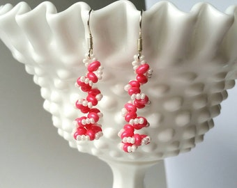 Pink and White  Beadwoven Spiral Earrings