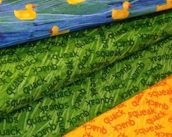 rubber duck fabric, 10 little rubber ducks, quack green yellow orange/rust fabric, by the yard, coordinate fabrics