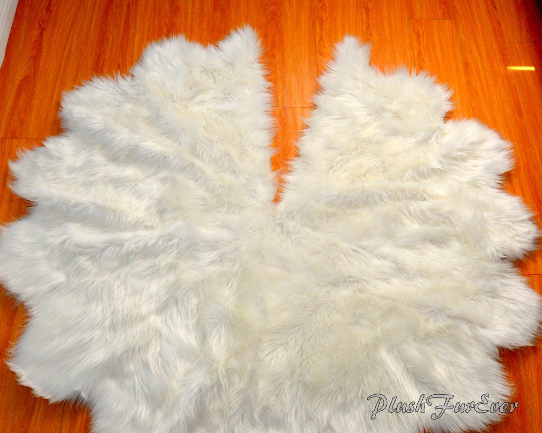 Faux Fur Tree Skirt Christmas Tree Decor White Sheepskin Faux