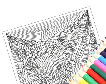 Zendoodle Coloring Page, Printable Intricate Zentangle Inspired Digital Coloring Sheet, Instant Download Page 36