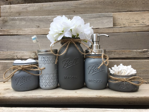 Country Bathroom Decor: Mason Jar Bathroom Set-Rustic Bathroom Decor-Country Bathroom