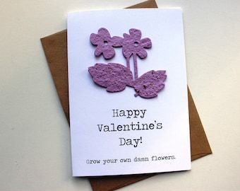 Happy Valentine's Day!  Grow your own damn flowers - 16 seed paper colors available