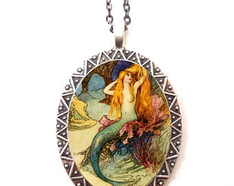 Mermaid Necklace Pendant Silver Tone - Siren Illustration Beach Nautical Edwardian