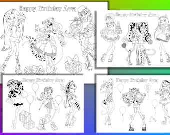 Monster High Birthday Party coloring pages, activity, PDF file