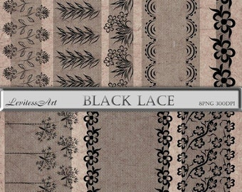 Lace clipart - Black Border Digital - Wedding Borders clip art - Digital Borders - Black Lace Digital - Border clip art - Lace Printables