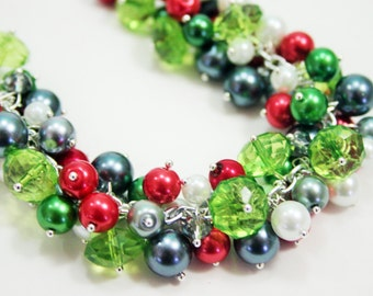 Christmas Statement Necklace - Extra Chunky Cluster Necklace with green, red, and silver!