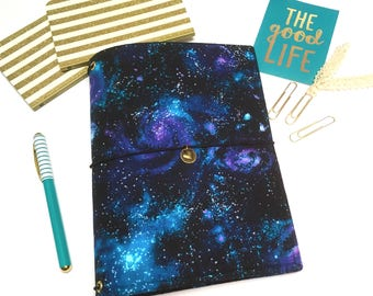 Galaxy Fauxdori. A5 Travelers Notebook Cover. Night Sky Fauxdori. Purple and Turquoise Dreamdori Cover. Star Bullet Journal. Planner Cover