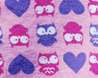 Made to Order Pink and Purple Owls and Hearts Unisex Adult Flannel Pajama Pants
