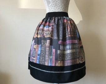 Harry Potter inspired Magical Library Books tea length skirt