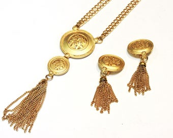 """Matching Celtic Choker Necklace Earring Set, Yellow Gold Metal 18"""" Chain Gaelic Medallion Pendant, Earclips, Chain Tassels itsyourcountry"""