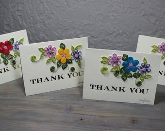 Thank you card, quilled card, blank card, quilled flowers, quilling