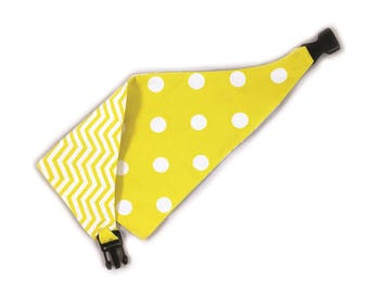 Uptown Pups Clip on Reversible Dog Bandana - Yellow