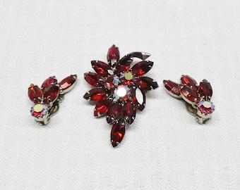 50s 60s Vintage Brooch and Clip Earrings Demi Parure Siam Navette Rhinestones
