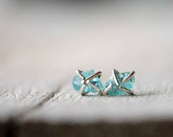 Sterling Silver rough gemstone post earrings, apatite beads, made to order