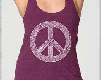 Hipster Peace Sign Clothes Summer Racerback Tank Top American Apparel Womens Ladies