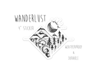 "Wanderlust Sticker 4"" Weatherproof and durable, Outdoor sticker, Travel sticker, Wanderlust, Galaxy, Moon sticker, Collectible  stickers"