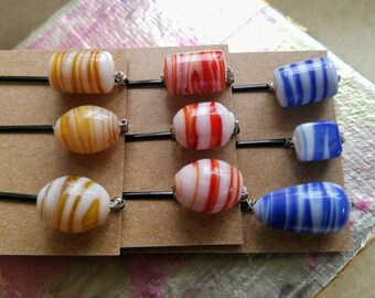 Blue, yellow or red with white glass bead wire wrapped hair pins, hair accessory, gift for her, bobby pins