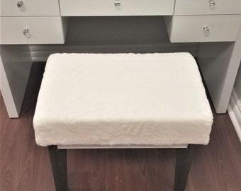 Ultra Plush Silk White Faux Fur Vanity Bench/Stool