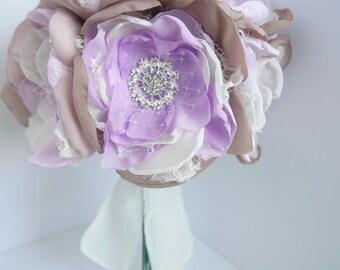 Lavender Fabric Flower Bouquet | Brooch Bouquet | Purple, Lavender Fabric Flowers | Shabby Chic Bridesmaid Bouquet
