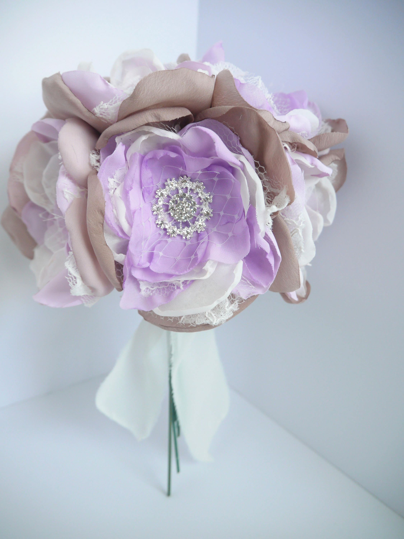 Lavender Fabric Flower Bouquet Brooch Bouquet Purple