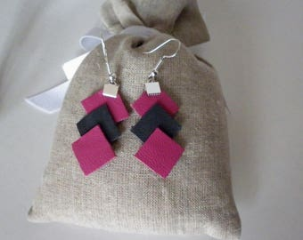 stacked leather, grey and Pink diamonds earrings