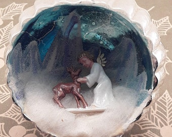 Vintage Angel and Fawn Glass Diorama Christmas Ornament, Silver and Blue with Mica Mountains and Stars, 1950's West Germany, Spun Cotton