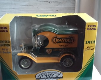Gearbox Toy Coin Bank. #3 in Series  Bank Depicts a 1912 Ford Crayola Delivery Car. Heavy Die Cast Metal Locking Bank with Detachable Key.