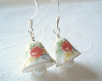 Bell Earrings Rose Earrings Flower Earrings Bell Glass Earrings Romantic Earrings