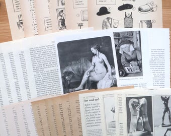 Beige Stack - set of 30 vintage book and magazine pages