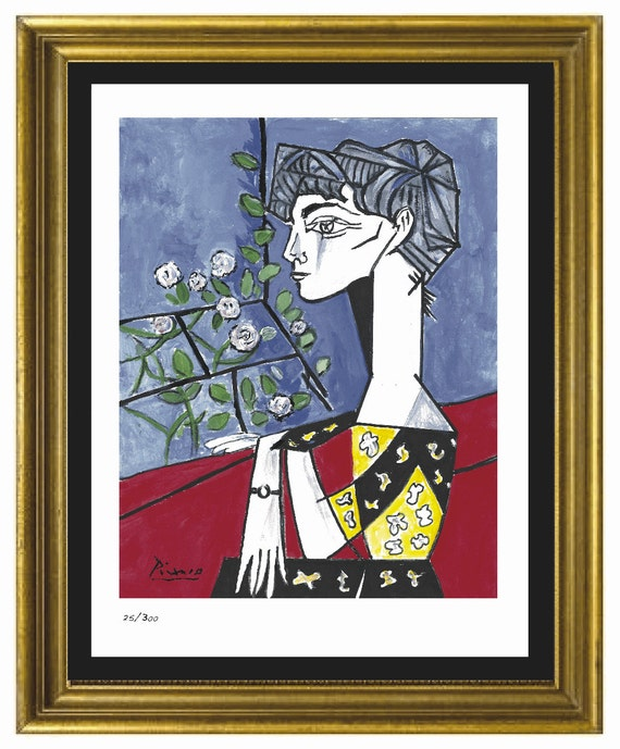 """Pablo Picasso """"Jacqueline With Flowers"""" Signed & Hand Numbered Limited Edition Lithograph Print (Unframed) by Etsy"""