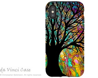 Colorful Tree Abstract - Artistic iPhone X Tough Case - Dual Layer Protection for Apple iPhone 10 - Forbidden Forest by Da Vinci Case