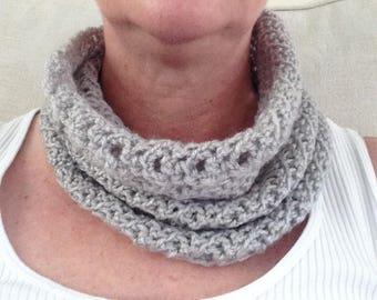 Ladies Grey Crocheted Cowl Infinity Scarf