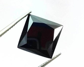 2.10Ct 8MM Natural Attractive Princess Cut Z Black Moissanite Gemstone AU4228