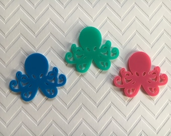 3pc. Pastel, Octopus, Large Acrylic Cabochon... So Kawaii