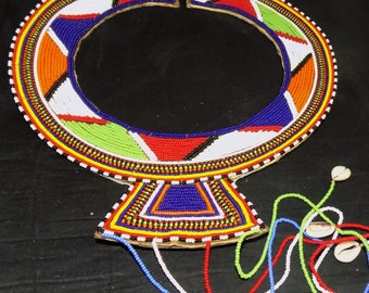 Fashion African Masai Necklace/ Ceremonial Wedding Beaded Necklace from KENYA (White+Orange+Blue+Green)